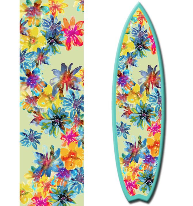 prancha de surf floral